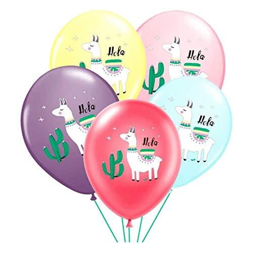 DIWULI, 5 Stück Alpaka Lama Luftballons, Pinata Latex-Ballons, Latexluftballons, buntes Ballon-Set, Geburtstags-Ballons, Geburtstagslama Ballons für Geburtstag, Motto-Party, Dekoration, Geschenk-Deko