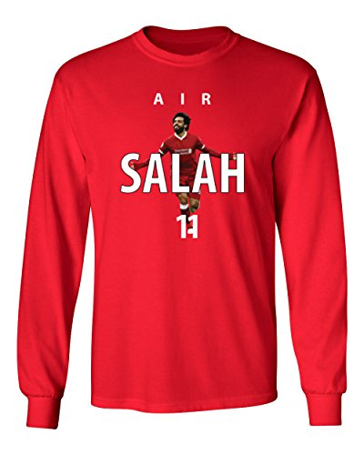 Tcamp Soccer Liverpool Air Salah #11 Mohamed Salah Men's Long Sleeve T-Shirt (Red, Adult Large)