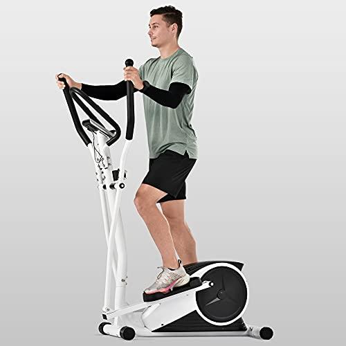 Shakub Bicicleta Elíptica, Elíptica de Fitness para Casa Multifuncional con Resistencia de 8 Niveles, Volante Magnetrón de 10 kg, Pantalla LCD y Pulsómetro, MAX 120kg (Blanco)
