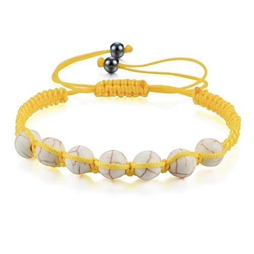 Men Stone Bracelet White Black Lava Beaded Bracelets Women White Lava ZB-01 Bracelet (Color : Yellow White, Size : One Size)