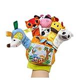 JSJJAEA Handpuppen Baby Spielzeug 0-12 Monate Cartoon Tier Finger Puppe Tuch Buch Laut Papier Spielzeug für Neugeborene Elternkind Interaction Lernspielzeug (Color : Left Hand(Orange), Height : 18cm)
