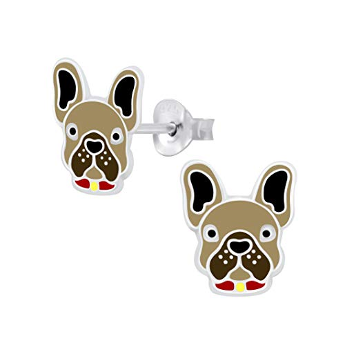 Sterling Silver French Bulldog Earrings