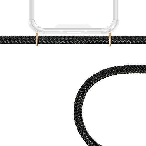 ZhinkArts Handykette kompatibel mit Huawei P20 Pro - Smartphone Necklace Hülle mit Band - Schnur mit Case zum umhängen in Schwarz - Gold - 3