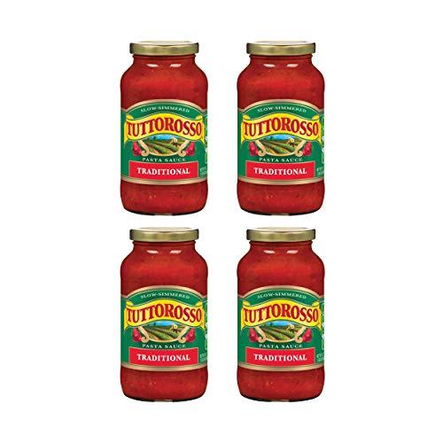 Tuttorosso Traditional Pasta Sauce, Gluten Free and Vegetarian Recipe, 24 Ounce Jars, 4-Pack