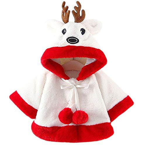AnKoee Baby-Mantel für Mädchen, mit Cartoon-Motiv, Kunstpelz, Winterjacke, warm, für Mädchen, Prinzessinnen Gr. 0-6 Monate, weiß