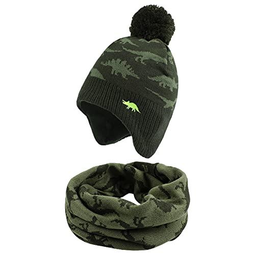 XIAOHAWANG - Cappello con dinosauro per neonato, con cappelli invernali per bambini, da 0 a 7 anni, Dinosauro verde (cappello + sciarpa, 2-4 anni