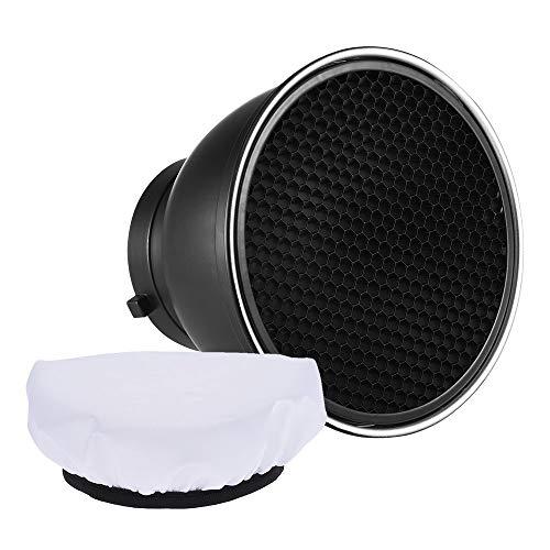 Andoer 7' Reflector Difusor Lámpara Plato con 60° Rejilla de Nido de Abeja Blanco Paño Suave para Montaje de Bowens Estudio Flash Speedlite Luz (con Tela Blanca)