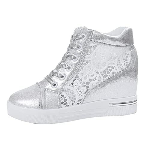 URIBAKY - Zapatillas de deporte para mujer, de piel y goma, con cordones y transpirables, suaves y cómodas, para exteriores, fitness, senderismo, plata, 38 EU
