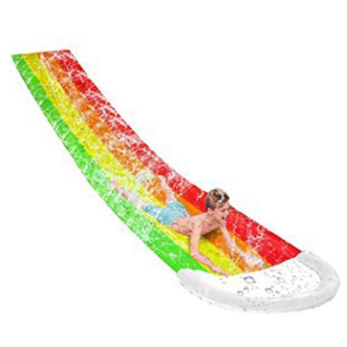 Sidougeri - Tobogán de agua para niños, carreras, carreras, tobogán, césped, tobogán de agua con aspersor, patio trasero, tabla de surf, jardín, divertido juguete para niños