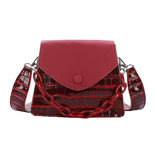 SANGSHI Bolso para mujer, bolso de la compra, bolso de mano, mujer pequeño, piel sintética gruesa, con cadena, estilo vintage de cocodrilo, rojo vino, 1