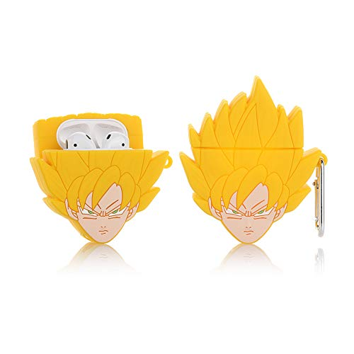 ZAHIUS Funda de silicona para Airpods 1 y 2 [diseño de Dragon Ball Cartoon Pattern][El mejor regalo para niña niña] (Saiyan Goku)