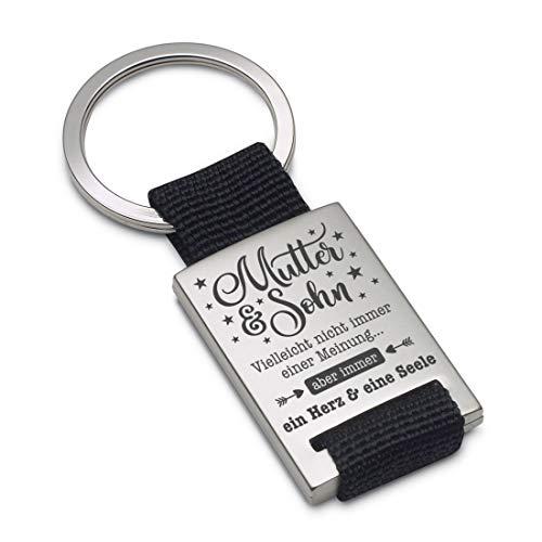 Lieblingsmensch Schlüsselanhänger Modell: EIN Herz und eine Seele (Mutter - Sohn) - Textil