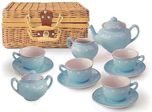 SNV Porzellan Tee Set-Boxed 13 Stück-Blau,Blau
