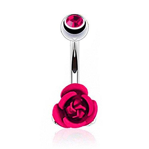 Piercingfaktor Bauchnabelpiercing aus Chirurgenstahl mit Kristall Banane Bauch Bauchnabel Piercing Strass Stein Rose Blume Anhänger Silber Pink