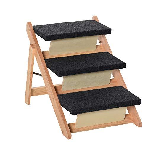 Pawhut Escalera de Madera para Perros Plegable 2 en 1 Rampa para Mascotas Portátil con 3 Escalones para Acceso al Sofá y Cama Alta 60x47x50 cm Negro y Natural