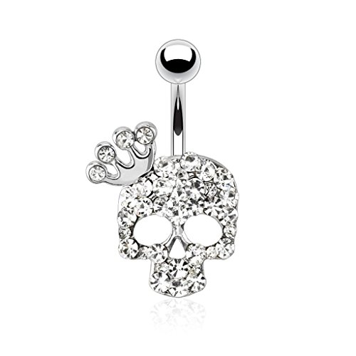 Dynamique Skull with Paved Gem and Gemmed Four Point Crown 316L Stainless Steel Belly Button Ring