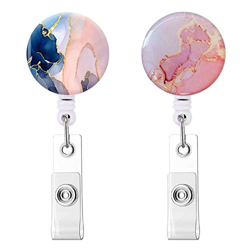 Nurse Badge Reel, Retractable Badge Holder, Badge Clip ID Name Card with Alligator Clip for Office Worker Doctor Nurse (Pink Marble Pretty 2pack)