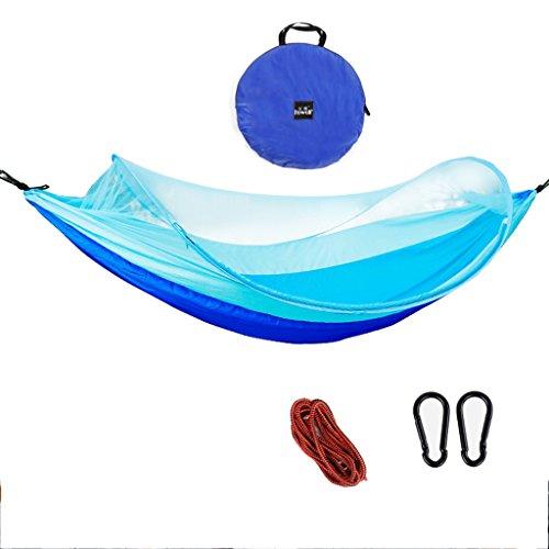 Hamacs Parachute ultraléger Adulte en Plein air moustiquaire Jardin et Patio (Color : Blue, Size : 260cm/102.4inch)