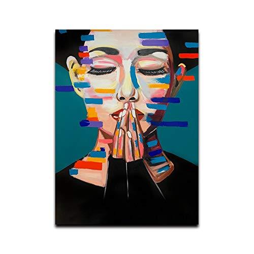 Pinturas de Arte de Pared, Cuadros de Pared, Pintura de Figura Abstracta, Póster de Impresiones Artísticas, Decoración del Hogar, Arte de Retrato de Sala ( Color : A , Size (Inch) : 50x70cm No Frame )