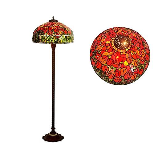 Lámpara de pie estilo Tiffany, base de metal Lámpara de pie vintage para sala de estar con lámpara colgante Pantalla con patrón de tulipán de vidrio para dormitorio, sala de estar, lectura, oficina (H
