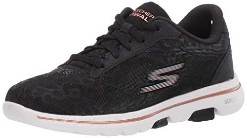 Skechers Damen GO Walk 5 WILD Sneaker, Schwarz Schwarz Textil Gold Besatz Bkgd, 39 EU