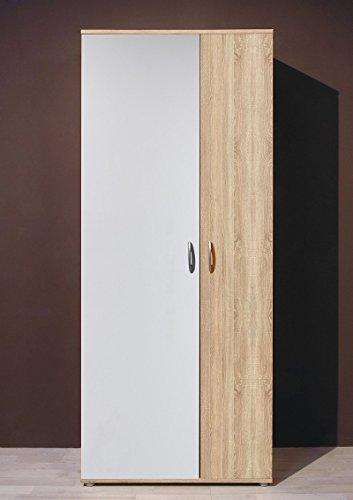 Stella Trading Talent 3 Schuhschrank, Mehrzweckschrank, Holzdekor, Sonoma-Weiß, ca. 70 x 176 x 35 cm