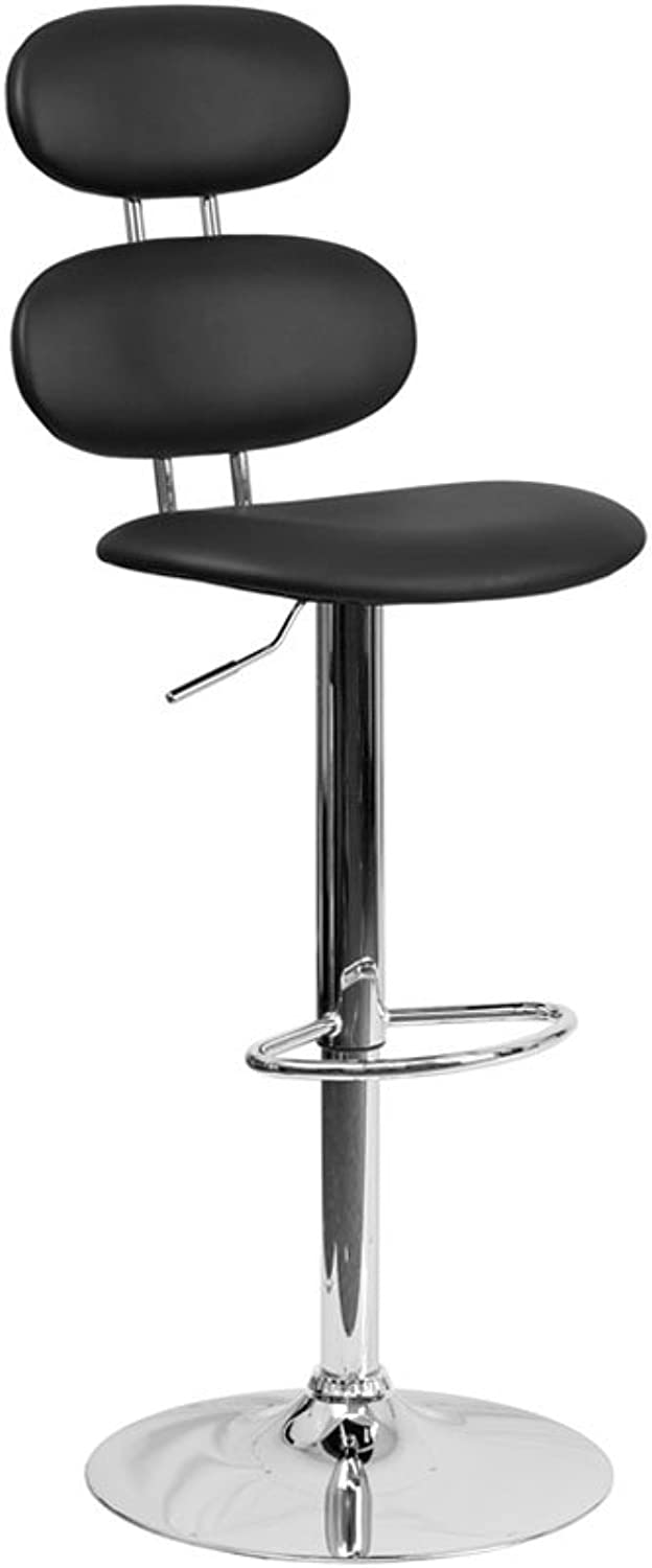 Offex Contemporary Vinyl Adjustable Height Barstool with Chrome Base, 20  x 18.5  x 48 , Black (OFX-400230-FF)