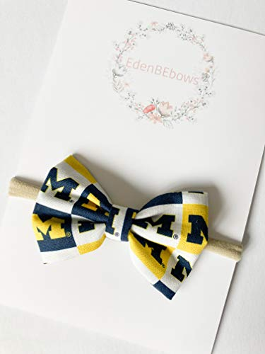 University of Michigan Wolverine Headband bow - great for baby shower, newborn, toddler girls - extra soft nylon headbands - Made in USA