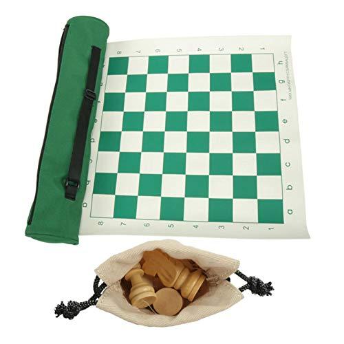N/Q Juego de ajedrez de Viaje Enrollable | Ajedrez Plegable de Tablero de Cuero | Ajedrez de Viaje Inteligente con Bolsa de Transporte | Ideal para niños pequeños en el Aula.