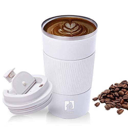 HomeMall Thermobecher, Kaffeebecher to go Becher, 510ml Vakuum Auslaufsicher Reisebecher mit Deckel, Edelstahl Isolierbecher Kaffeebecher für unterwegs-Weiß