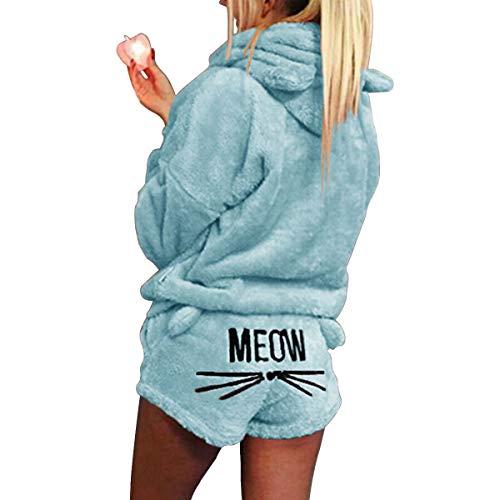 XingYue Direct 2 stücke Frauen Katze Pyjamas Nette Mädchen Meow Nachtwäsche Weichen Bademantel Shorts Winter Lounge Nachtwäsche Sets (Color : Sky Blue, Size : L)