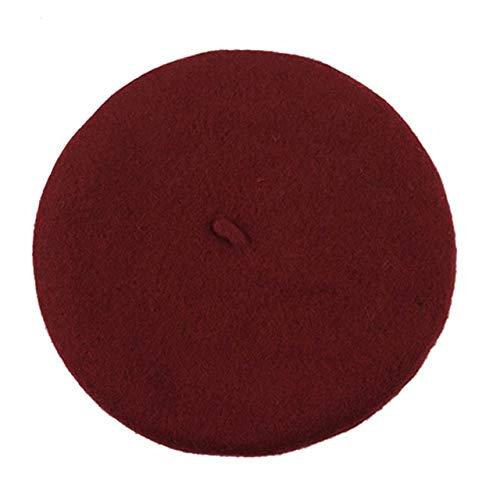 QW Elegent British Lady Mujer Boina de Punto Beanie Sombreros de esquí Moda Tam Cap Hat-Wine Red
