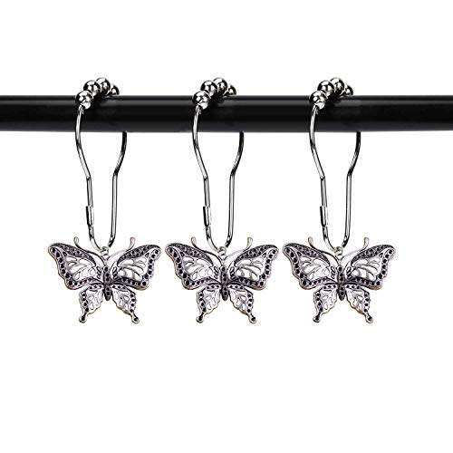 ZILucky 12 Stück Schmetterling dekorative Duschvorhang Haken Garten Natur Insekten Stil Thema Home rostfrei Duschvorhang Ringe Badezimmer Dekor Zubehör (Silber)