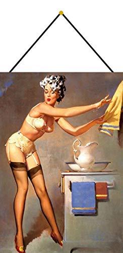 FS Pinup Girl - Cartel de chapa curvada con texto en inglés