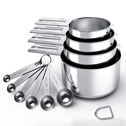 Stainless Steel Measuring Cups & Spoons 10-Piece Set, Cups and Spoons,Kitchen Gadgets for Cooking & Baking (4+6)