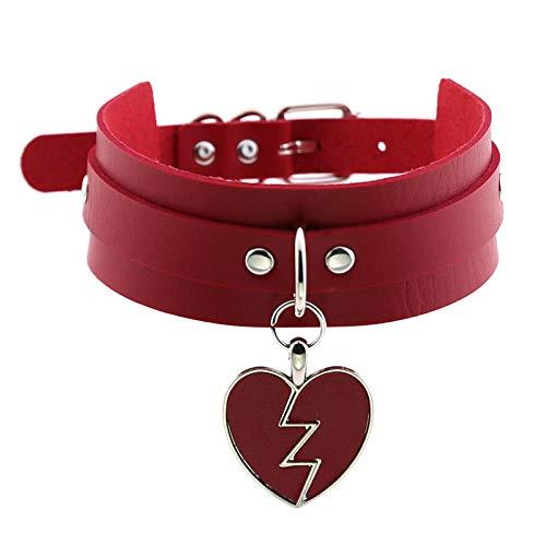 Herren Halskette Anhänger Schmuck Vintage Heart Punk Pu Leder Choker Halskette Für Frauen Statement Gothic Rock Herz Halsketten Sexy Schmuck Halskette Frauen-3