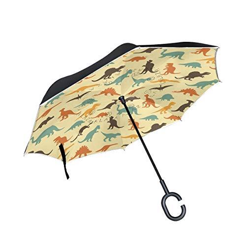 rodde Doppelte Schicht umgekehrte Retro- Schattenbilder des Dinosaurier-Tierregenschirm-Autos umkehren winddichten Regen-Regenschirm für das Auto, das mit C geformtem Griff im Freien ist
