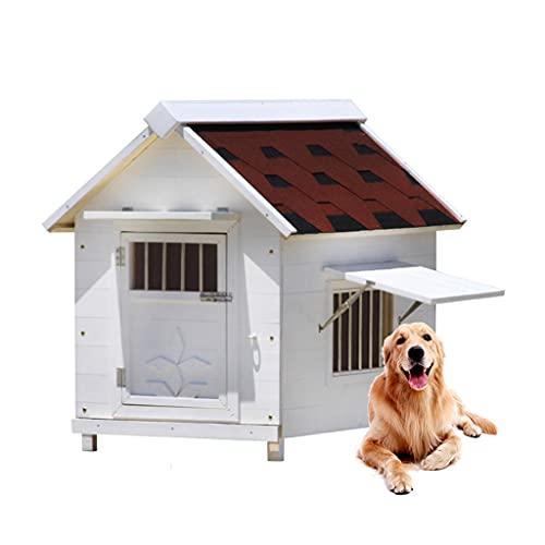 TYX Casa Perros Madera, Perreras Perros Perro Caseta Refugio Perros con Ventanas Puerta, para Perros Pequeños Medianos Gatos Caja Fácil Limpieza,49×45×58cm