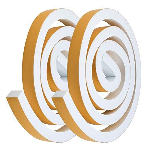 YOTINO 2 rollos de cinta adhesiva de espuma para juntas de 25 x 20 mm, tira autoadhesiva para sellar puertas y ventanas (blanco)