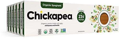 Chickapea Gluten Free Chickpea Pasta - Spaghetti - Certified Organic Healthy Vegan Pasta, High in Protein, GF, Lower Carb, Kosher and Non GMO - 8oz each (6 Pack)