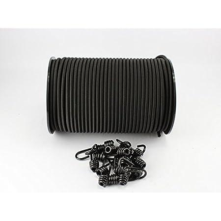 Corde extensible en caoutchouc Noir 8mm Longueur 20m + Lot de 10crochets spiralés