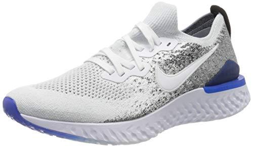 Nike Men's Epic React Flyknit 2 Trail Running Shoes, Multicolour (White/White/Black/Racer Blue 102), 11.5 UK