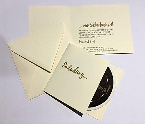 """Bierdeckel als Einladungskarte personalisierbar 10 Stück mit Stift """"Feiert mit uns """" + Umschlag + Innentext"""