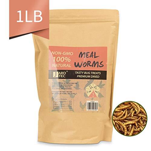 JARDTEC Non-GMO Dried Mealworms - 100% Natural Treats for Birds Chickens Hedgehog Hamster Fish Reptile Turtles, 1 lb