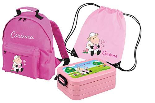 Mein Zwergenland Set 4 Kindergartenrucksack Classic und Brotdose Lunchbox Maxi + Turnbeutel mit Name Schaf, 8L, Rosa