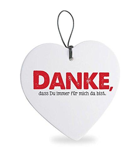 TEMPELWELT Deko Anhänger Herz Herzchen 15 cm aus Keramik weiß, Kachel Fliese mit Spruch Romantik Weißheit Liebe Glück, Herzanhänger Wandschild Danke