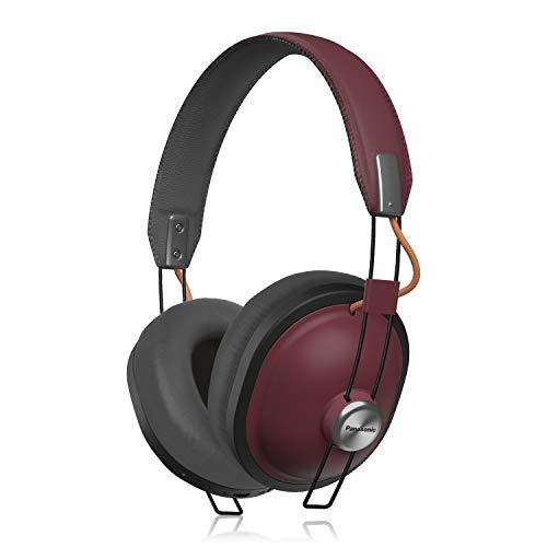 Panasonic Retro Bluetooth Wireless Headphone With Microphone, Deep Bass Enhancer, 24 Hours Playback - RP-HTX80B-R (Sangria)
