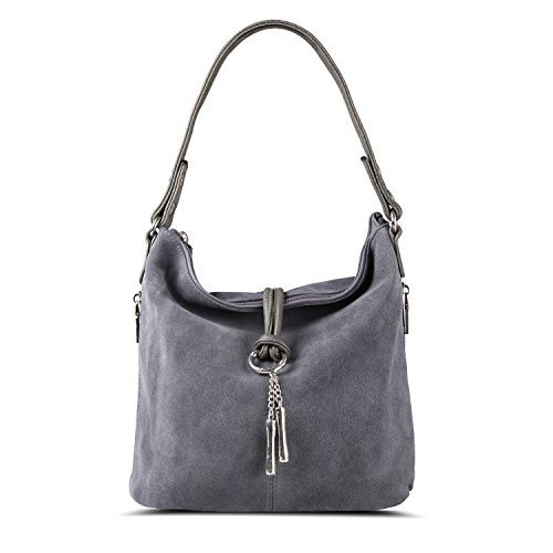 Nico Louise Women Purse Suede Split Real Leather Shoulder Bag Casual Crossbody Hobo handbag (LightGrey)