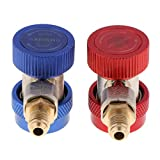 Joyfulstore- 2Pcs 1/2 Inch Adjustable R134A Quick Couplers Adapters High Low Ac Manifold Gauge Hose Conversion Kit