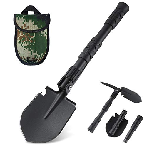 Folding Shovel Portable Camping Shovel Heavy Duty Alloy Steel Hiking Shovel Car Snow Shovel 18.1 inch Tactical Shovel Survival Shovel for Camping Hiking Backpacking Fishing
